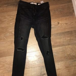 Black high rise ripped jeans